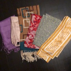Lot of 6 Scarves, Express, Limited, cashmere, silk
